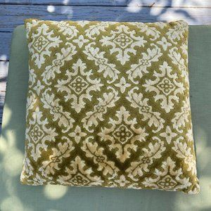 Vintage Chenille Throw Pillow Gold Green Square